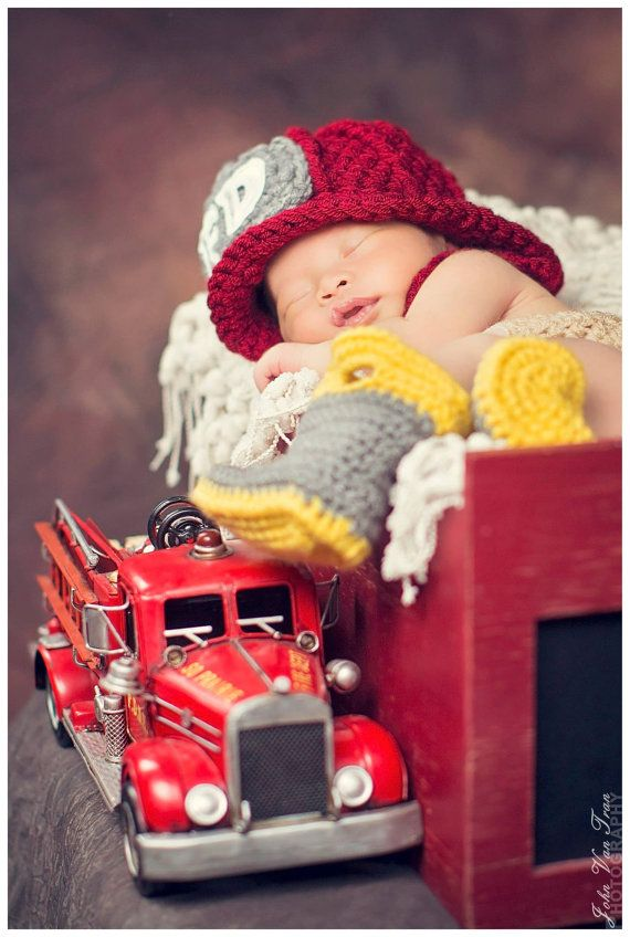 4927b3e51a0 Made-to-Order Crocheted Firefighter BOOTS - Newborn Infant Baby Boy or Girl  Photography Prop