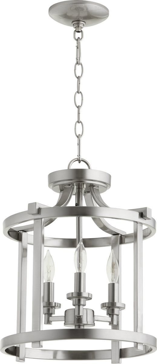0 009082Lancaster 3 Light Dual Mount Fixture Satin Nickel
