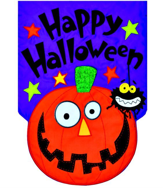 Happy halloween applique double sided mini garden flag by for Custom decor inc