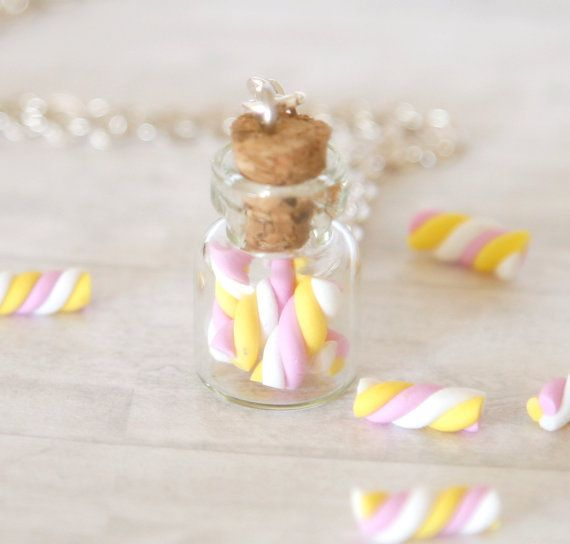 Cute kawaii marshmallow in a bottle necklace made from polymer clay The jar is filled with tiny and cute marshmallow sweet dessert. -1 jar filled with