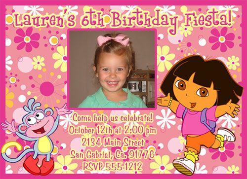 Custom Dora the Explorer Photo Birthday Party Invitations – Dora Party Invites