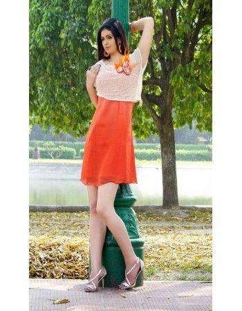 Charming Coral Partywear Kurti Rs.3,115