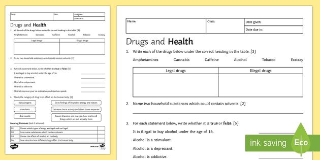 KS3 Drugs and Health Homework Activity Sheet - Homework