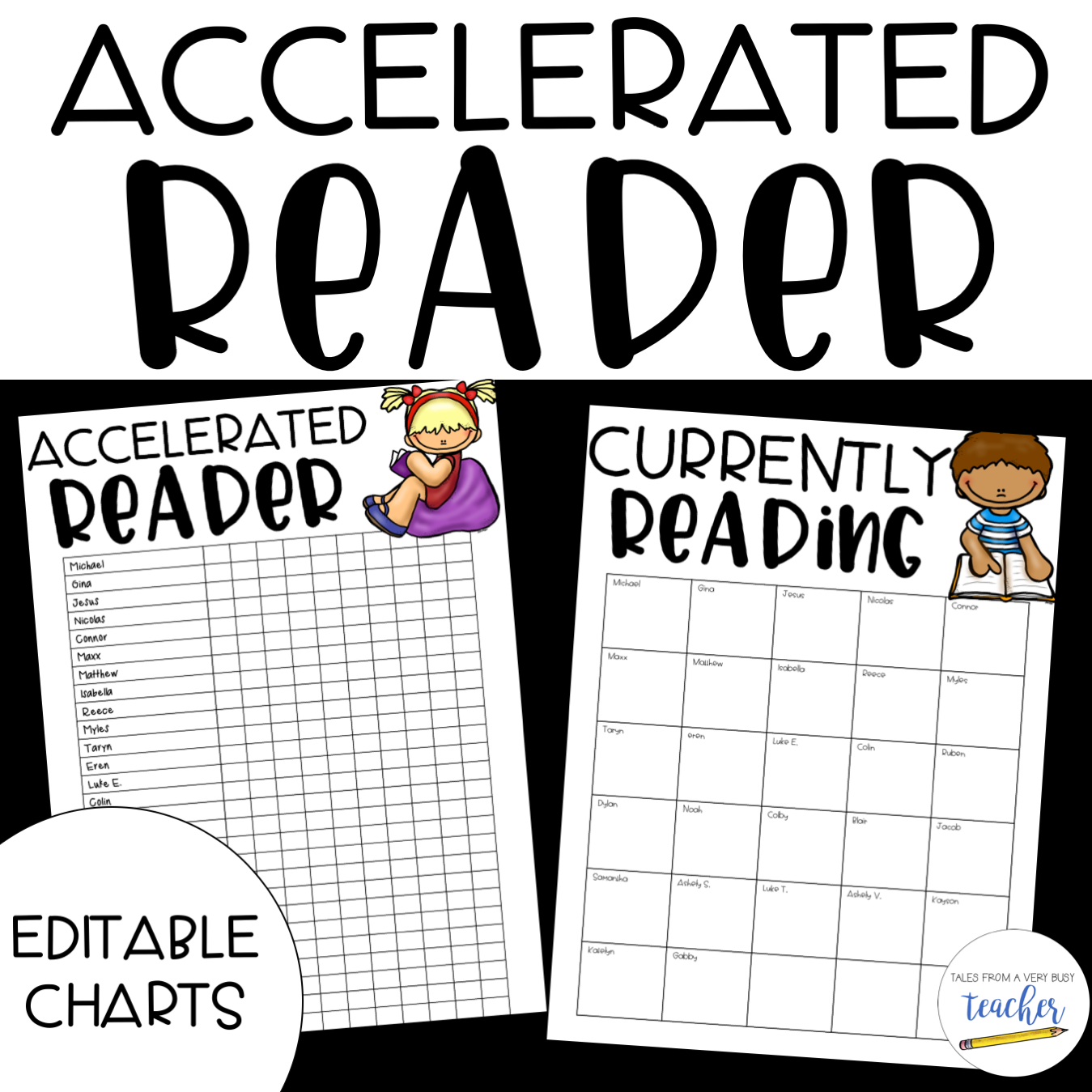 Accelerated Reader Charts {Editable} by Tales from a Very ...