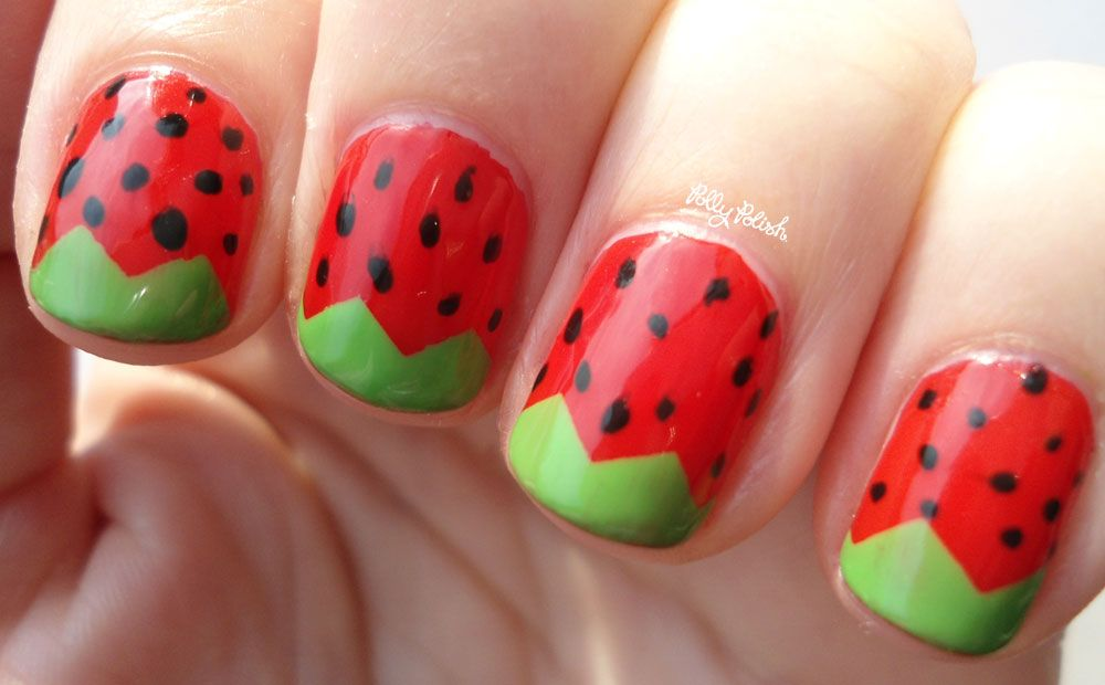 Strawberry Nail Art . cute! - Strawberry Nail Art . Cute!! Addicted To Nail Polish Pinterest