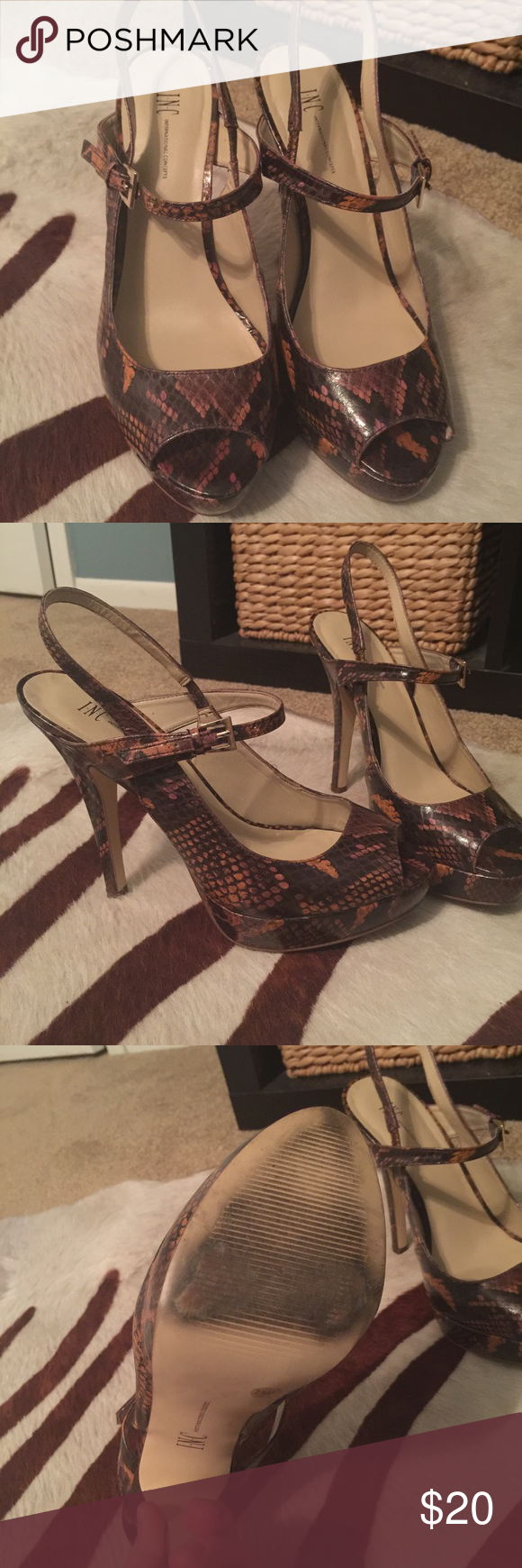 INC Snakeskin Slingback Platforms Peep toe platforms. Sexy! Snakeskin multi-color- Brown, orange and pink. Perfect condition. INC International Concepts Shoes Platforms