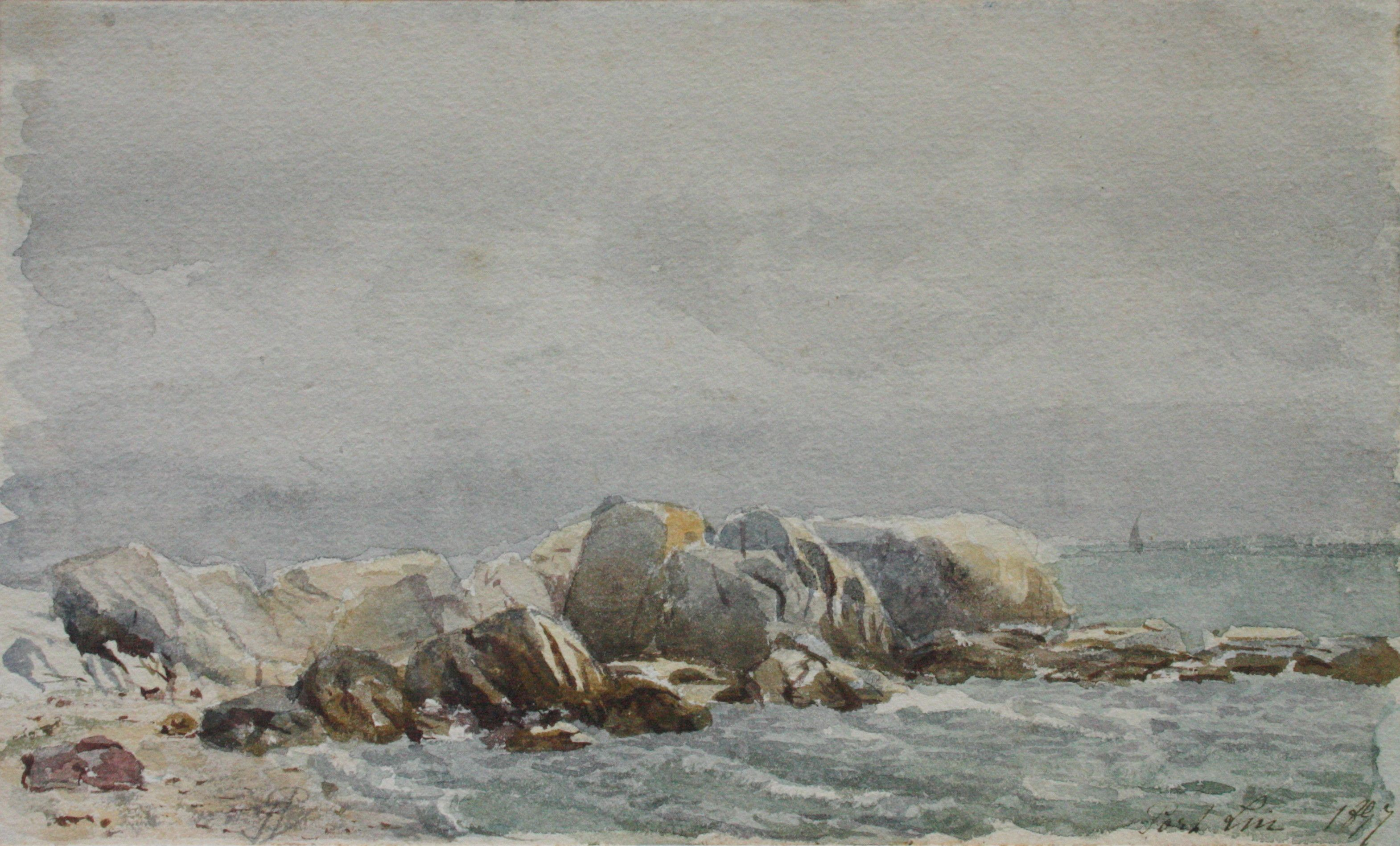 Monique Perrot Original 19th Century Watercolor French Seaside