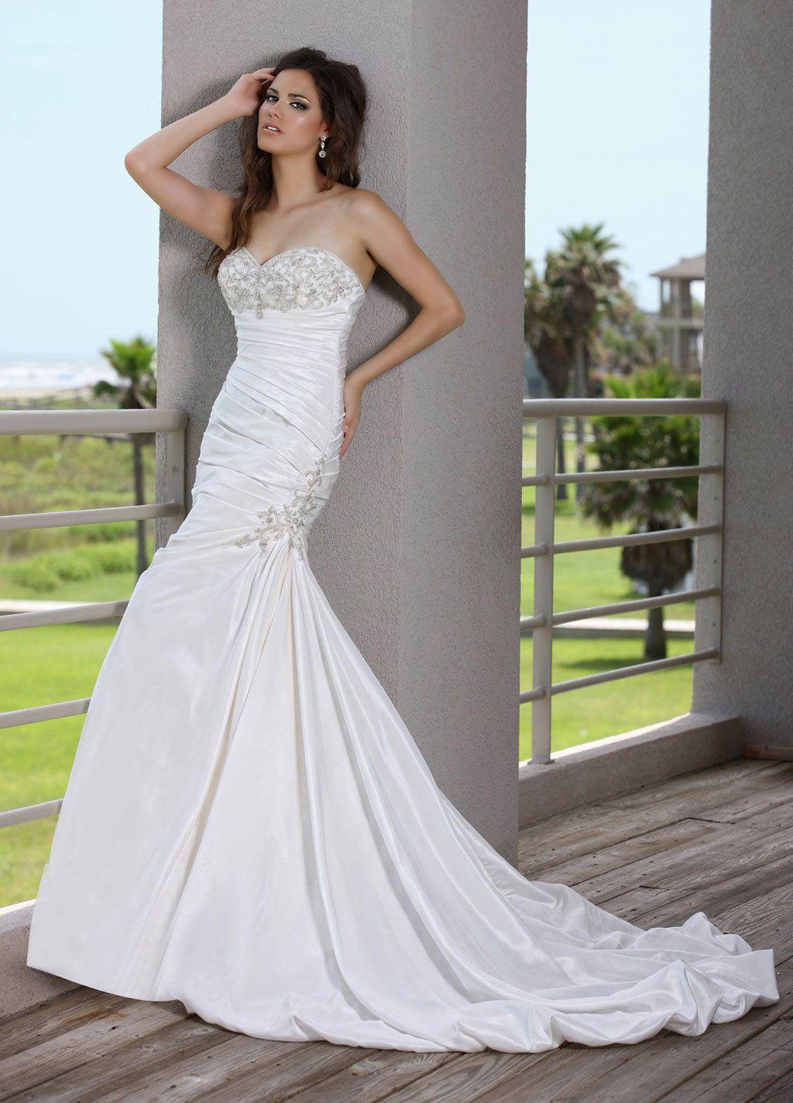 Trumpet style wedding dresses  Taffeta mermaid with beautiful sparkling beading on bodice and trim