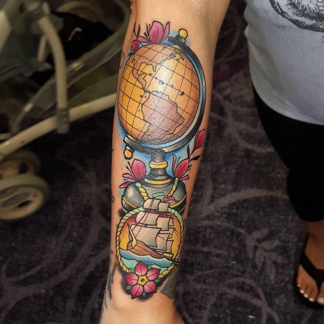1 691 Likes 5 Comments Tattoosnob Tattoosnob On Instagram Globe Amp Clipper Tattoo By Monnet Tattoo At Electric Globe Tattoos Tattoos Panther Tattoo