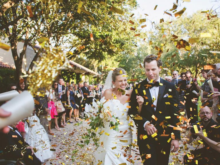 Thinking Garnet Gold Glitter Confetti Toss Over Bride And Groom