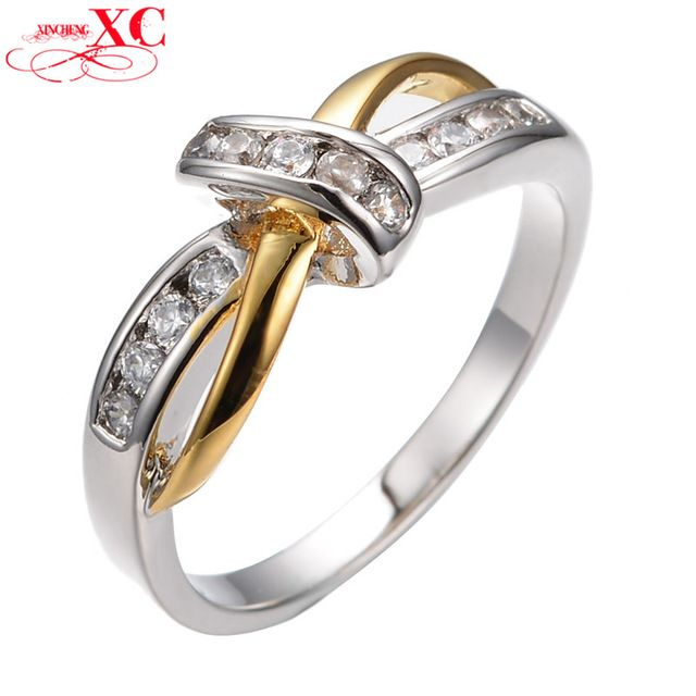 Cute Design White Sapphire Vintage Jewelry Women Wedding Band CZ Ring Anel 14KT Yellow/White Gold Filled Engagement Rings RY0074