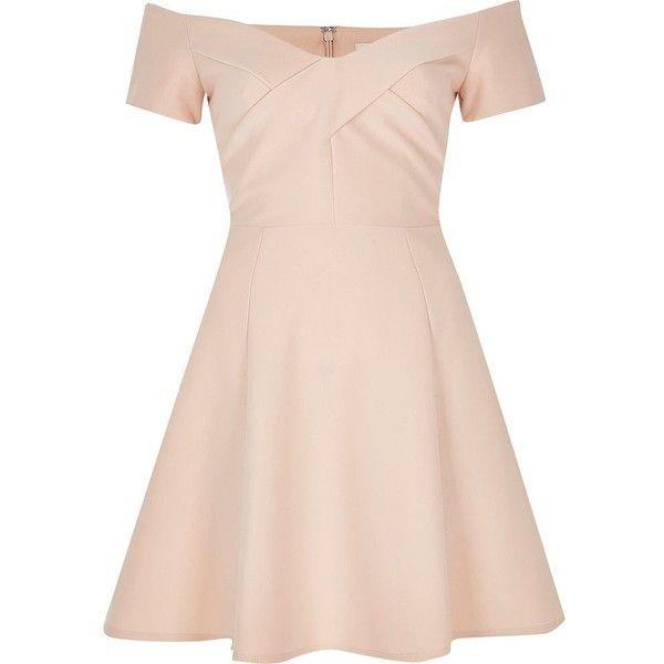 River Island Light pink bardot skater dress ($58) ❤ liked on ...