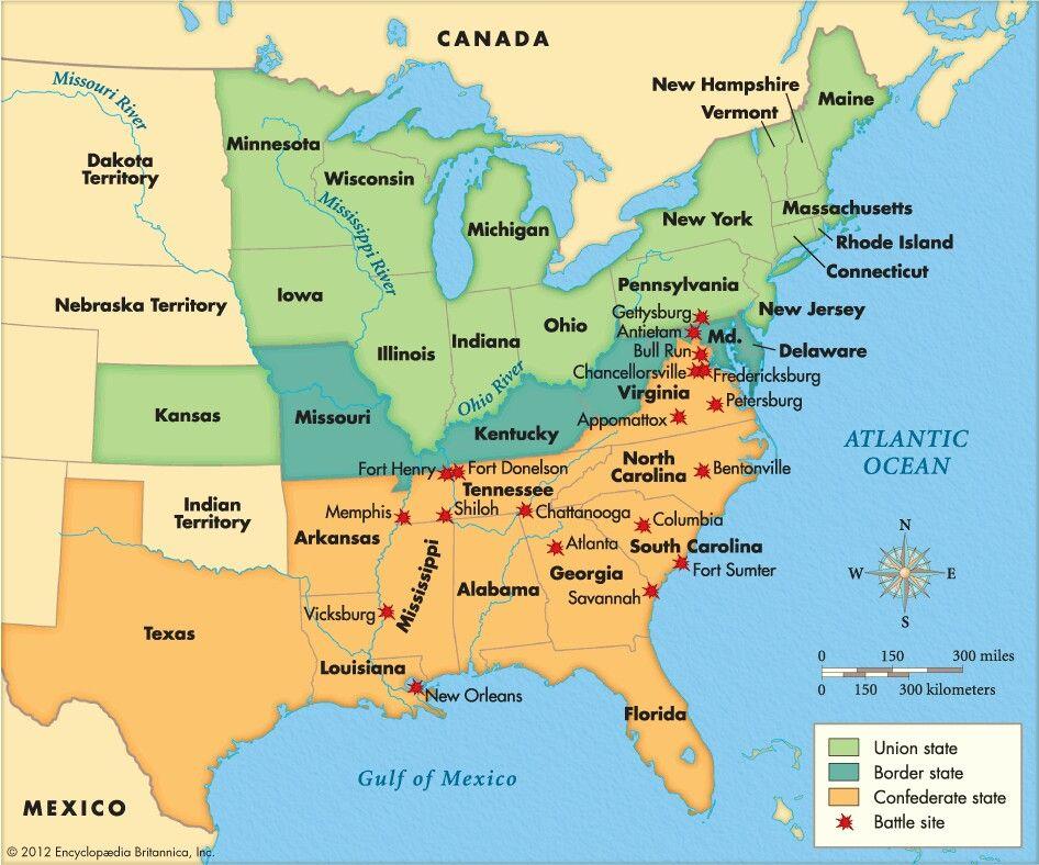 Battle Of Gettysburg On Us Map Major battles of the Civil War | American civil war, Civil war