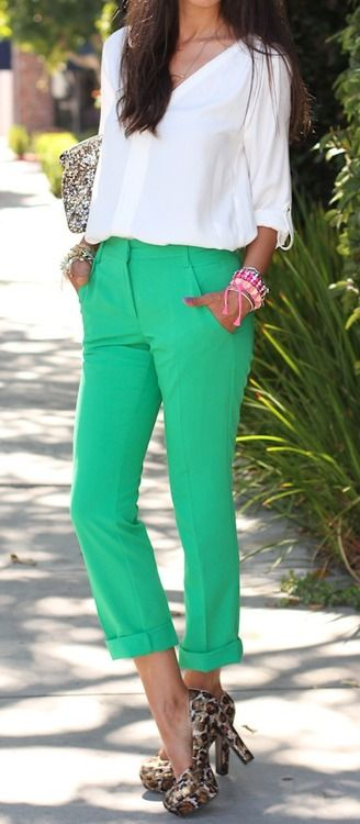 Bright tailored pants.
