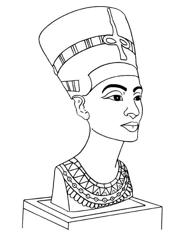 Nefertiti Bust Coloring Page Queen Nefertiti Art Nefertiti