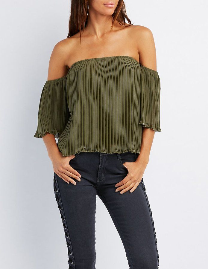 Pleated Off The Shoulder Top Strapless Tops Off
