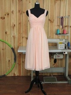 Pink V-neck Chiffon Tea-length Ruffles Modern Bridesmaid Dress - dressesofgirl.com