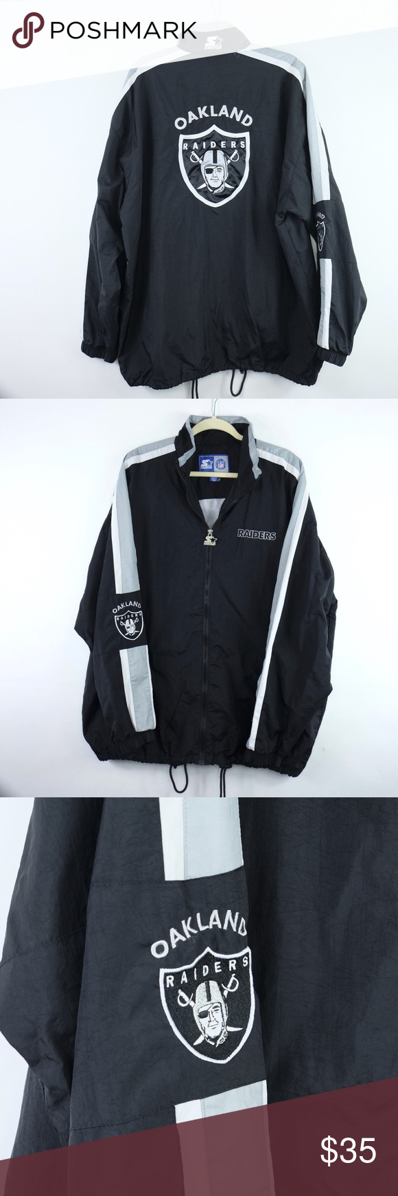 Vintage Starter Oakland Raiders Jacket Xxl 2xl Overall Great Shape Pit To Pit 28 5 Bottom Of Collar To Hem 31 75 Starter Jackets Jackets Xxl Oakland Raiders