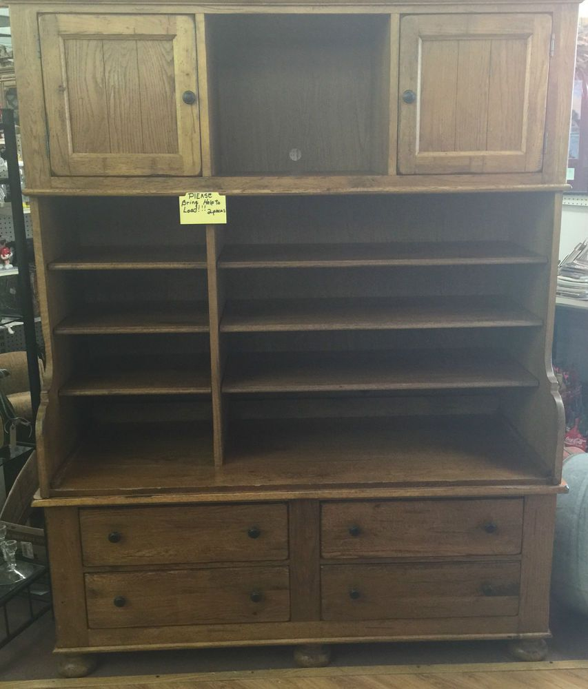 Broyhill Attic Heirlooms Furniture Breakfront China Oak Cabinet  Entertainment #Broyhill - Broyhill Attic Heirlooms Furniture Breakfront China Oak Cabinet