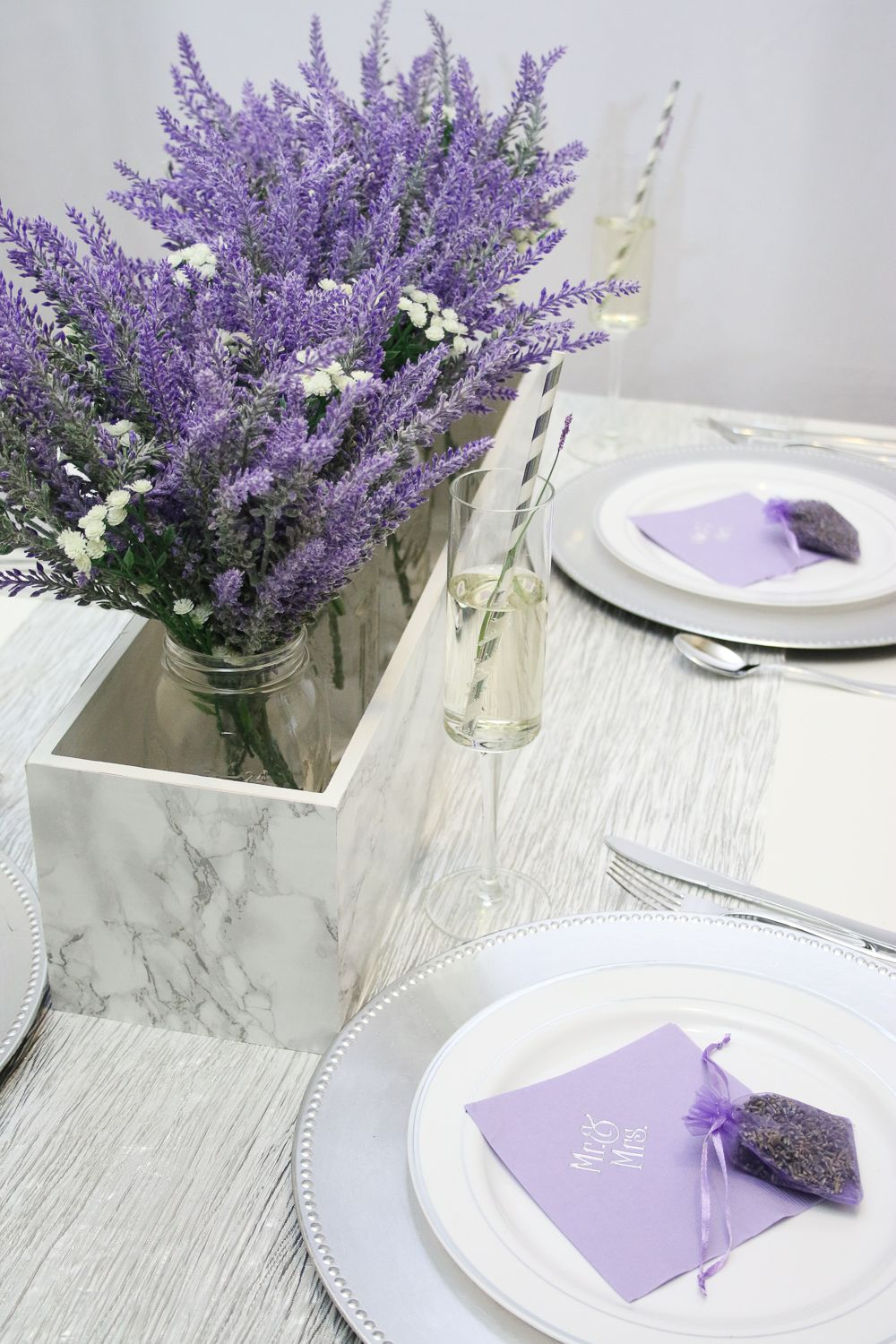 Marble and Lavender Wedding Table Idea   Lavender centerpieces ...