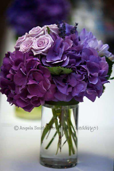Purple Hydrangea Lavender Wedding Table Center Www Bellabloomflorals Com Purple Wedding Flowers Wedding Table Flowers Wedding Flowers