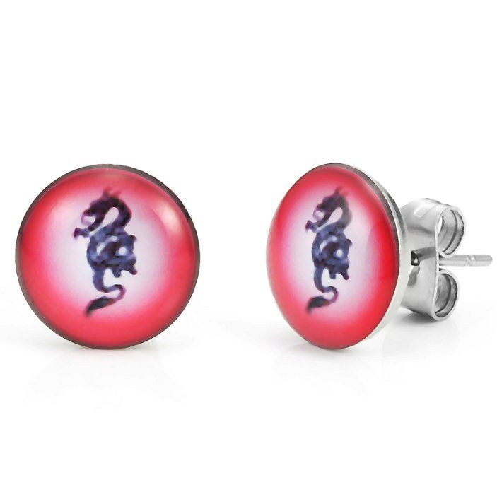 Abstract Dragon Stainless Steel Stud Earrings for Men 10mm Black Red
