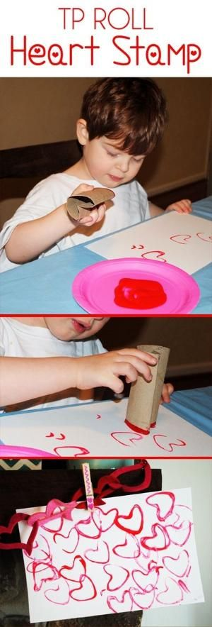 TP Heart Stamp. Valentine's Day Art Project / Craft Idea for Preschoolers and Toddlers. Bend a Toilet Paper Roll to create a heart shape and let them stamp red and pink paint to create <3 heart art! <3 from EmilyLongDesign.com by linda