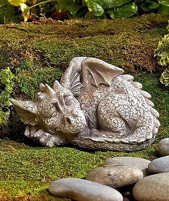 Dragon Garden Statue Sleeping Lawn Patio Yard Decor Fantasy Mythical New