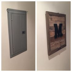 pallet monogram electrical box cover dyi projects in basement laundry room remodeling ideas Small Laundry Room Water Heater