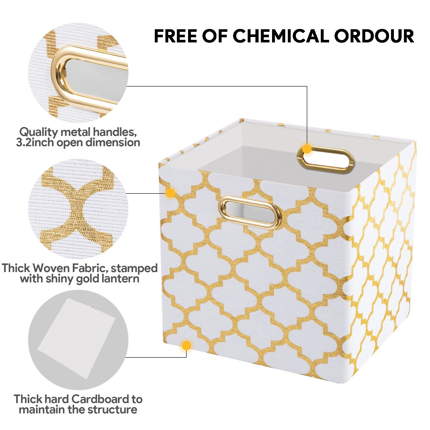 Posprica Collapsible Storage Cubes Bin Boxes Containers Drawers Organizer Baskets With Metal Han Collapsible Storage Bins Fabric Storage Baskets Fabric Storage