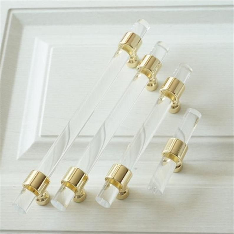 """3/"""" 3.5/"""" 3.75/"""" 4.5/"""" 5/"""" 5.5/"""" Acrylic Cabinet Pull Lucite Drawer Pulls Handle Black"""