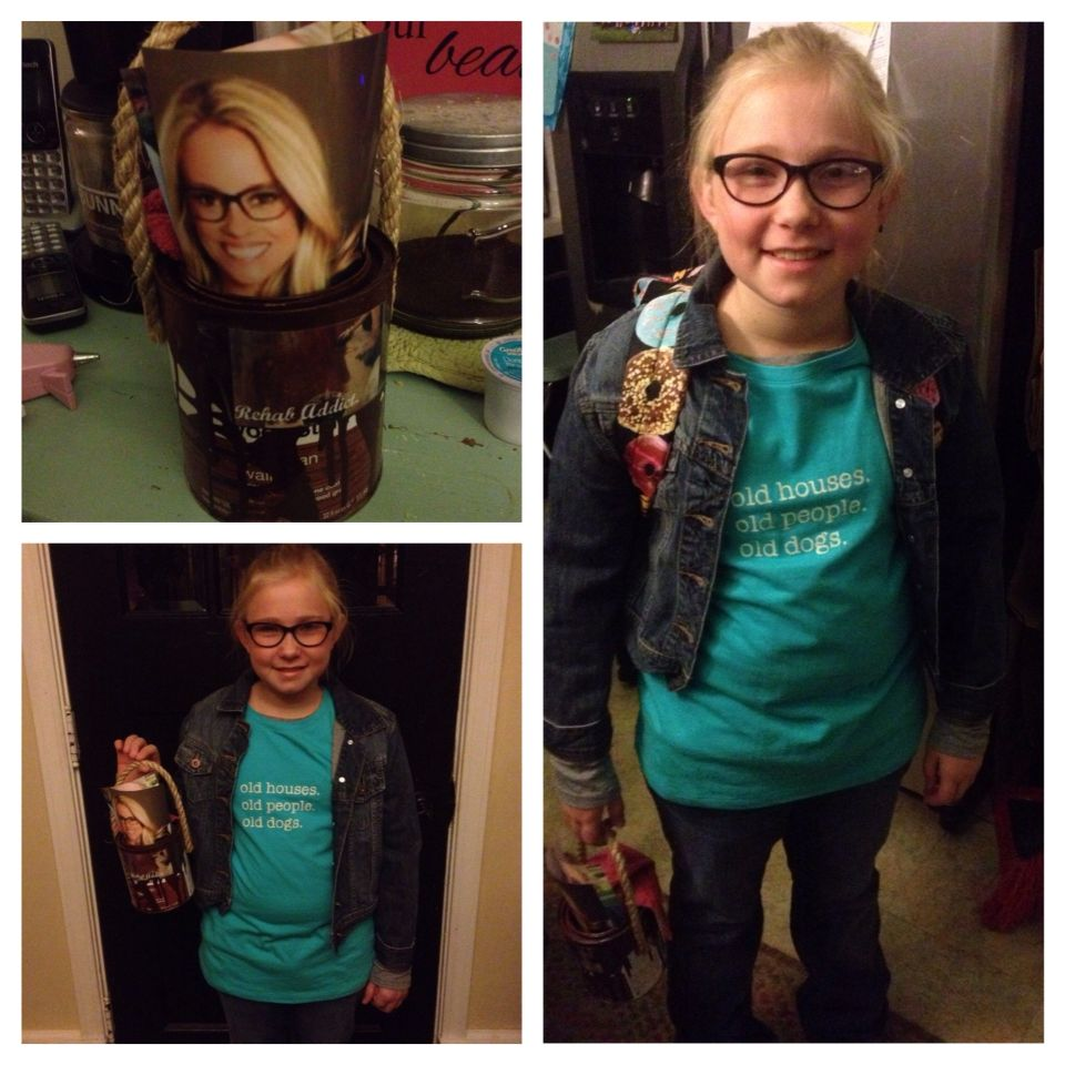 Nicole Curtis, the Rehab Addict, Halloween costume - empty stain can, tshirt and jeans :)