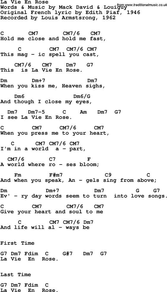 Song Lyrics With Guitar Chords For La Vie En Rose Louis Armstrong