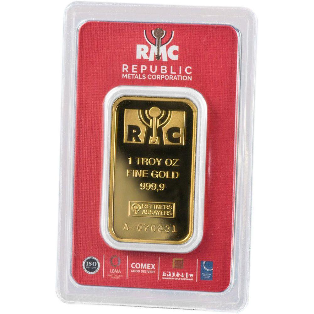 1 Oz Rmc Gold Bar Republic Metals Corp 999 9 Fine In Sealed Assay Gold Bullion Bars Gold Bar Gold