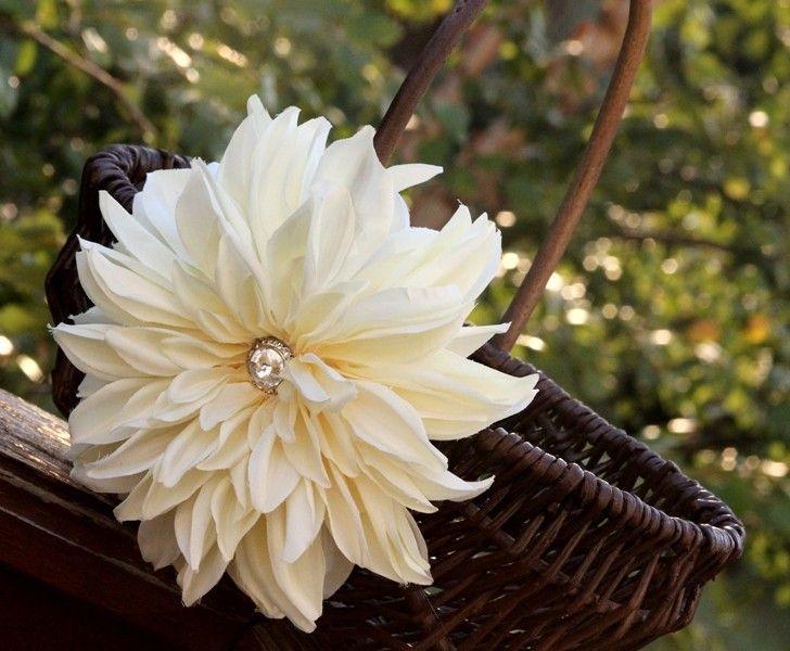 Flower girl basket, Ivory flower, vintage flower girl basket for wedding. $48.00, via Etsy.