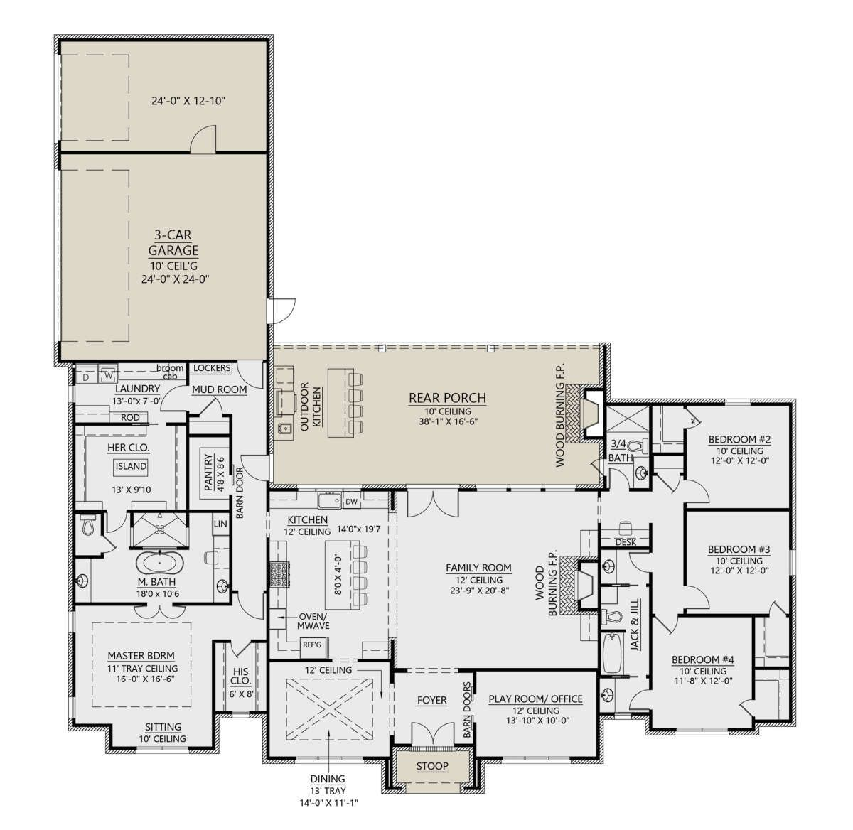 Photo of House Plan 4534-00030 – French Country Plan: 3,170 Square Feet, 4 Bedrooms, 3 Bathrooms