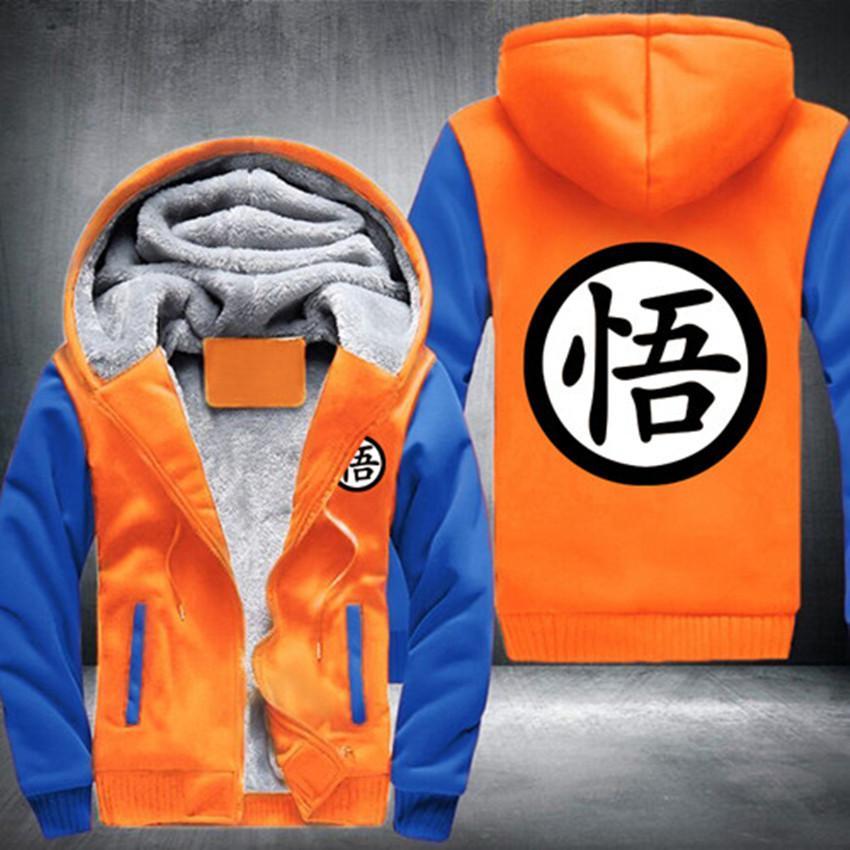 Usa Size Men Women New Design Anime Dragon Ball Goku Cartoon Jacket Thicken Hoodie Zipper Winter Fleece Unisex Coat Goku Jacket Mens Sweatshirts Hoodies