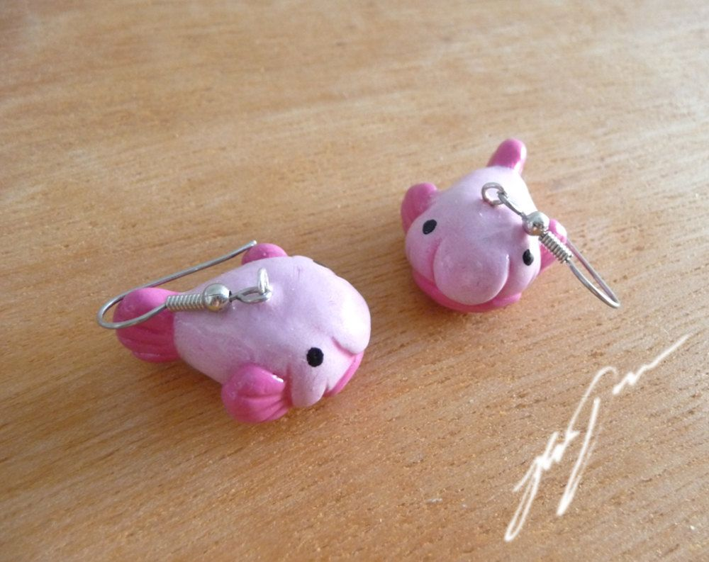 Blob Fish Earrings (also Avaliable As Clipons) Cute Polymer Clay Jewelry