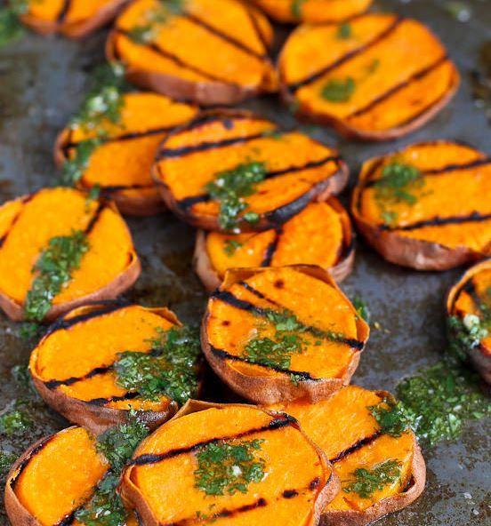 Grilled Sweet Potatoes with Cilantro Vinaigrette Recipe