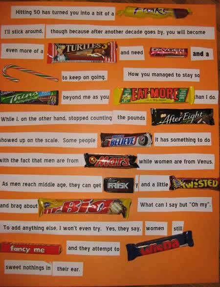 Chocolate Candy Bar Card For Husbands 50th Birthday Gag Gifts To