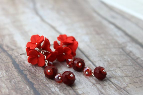 Earrings cascade of red flowers  di TaleJewels on #Etsy #Earrings #red #polymer #clay #handmade #fimo #flowers #boho #chic #bohemian #romantic #wedding #bridal #bride #jewels #jewelry #jewel #diy #redmood #mood #gift #for #her #I #love #shopping #Etsy #buyonEtsy #Etsian #Etsyshop #TaleJewels #Tale #Jewellery