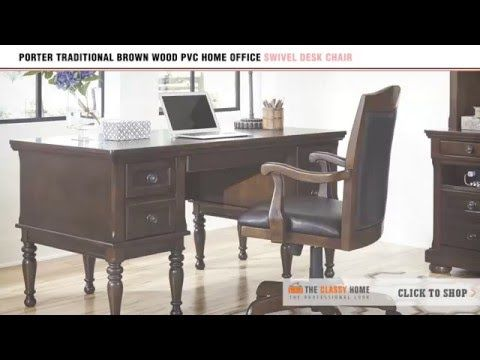 pvc home office chair. Porter Traditional Brown Wood PVC Home Office Swivel Desk Chair By Signature Design Ashley Pvc I