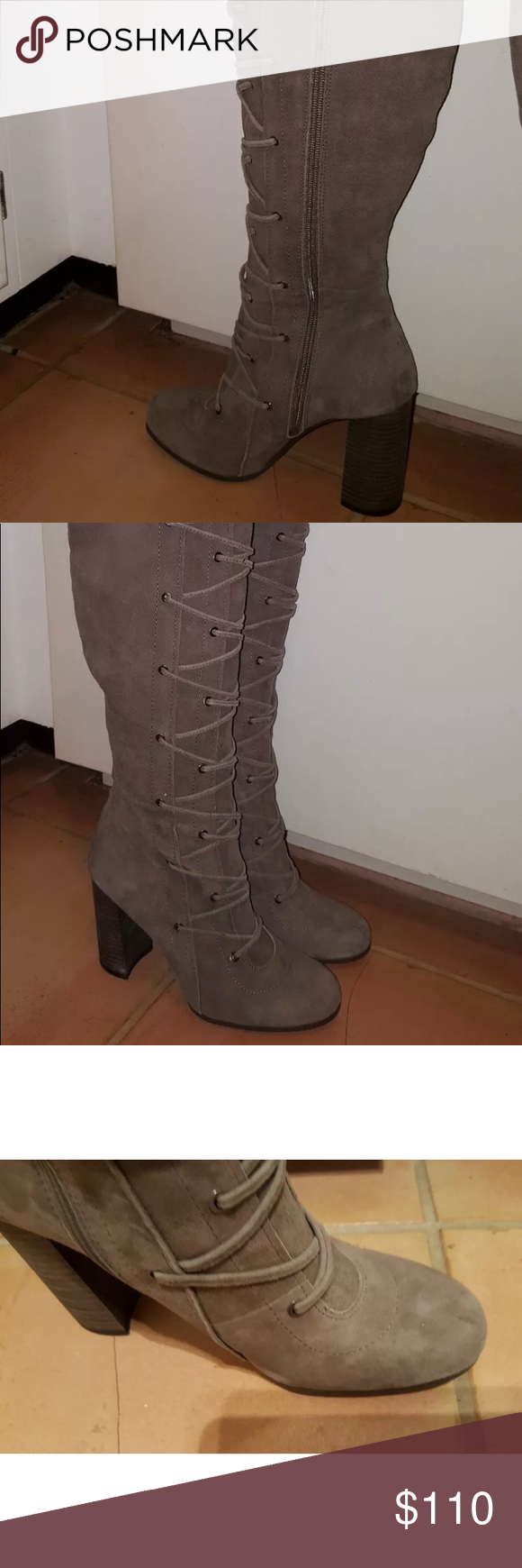 25c75e505ae Vince Camuto Thanta Tan Suede Lace up Boots SEO Brand new with tags Zips up  in