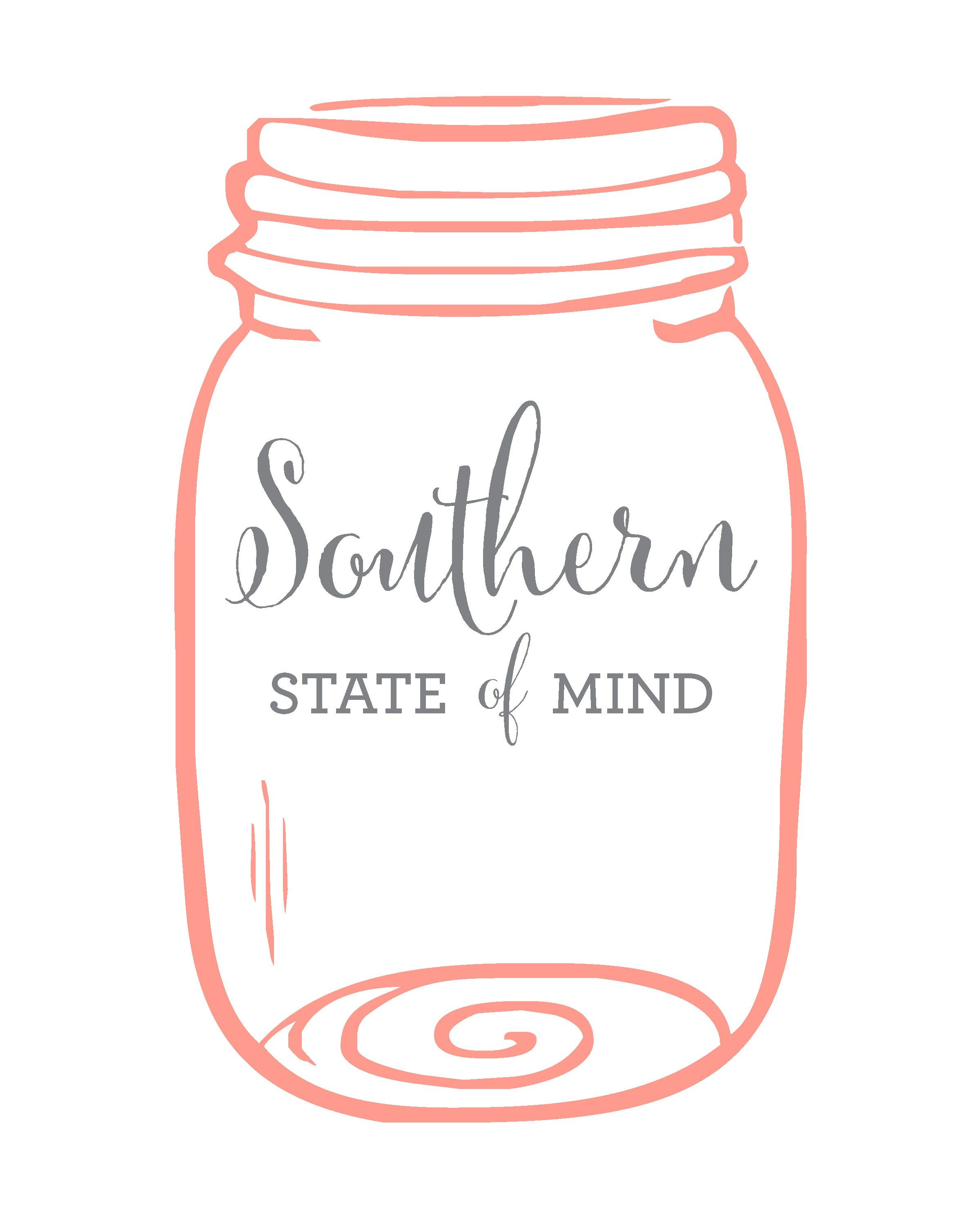 Southern State Of Mind Mason Jar Free Printable White