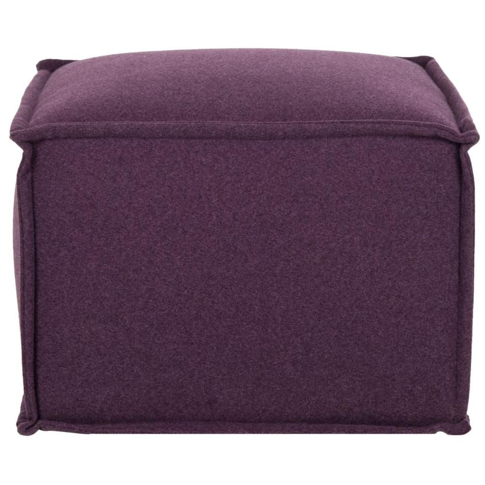 Elaine Wool-Polyester Pouf in Plum (Purple)