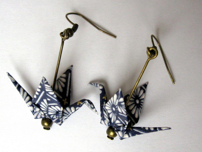 boucle d oreille grue origami tuto bijoux la mode. Black Bedroom Furniture Sets. Home Design Ideas