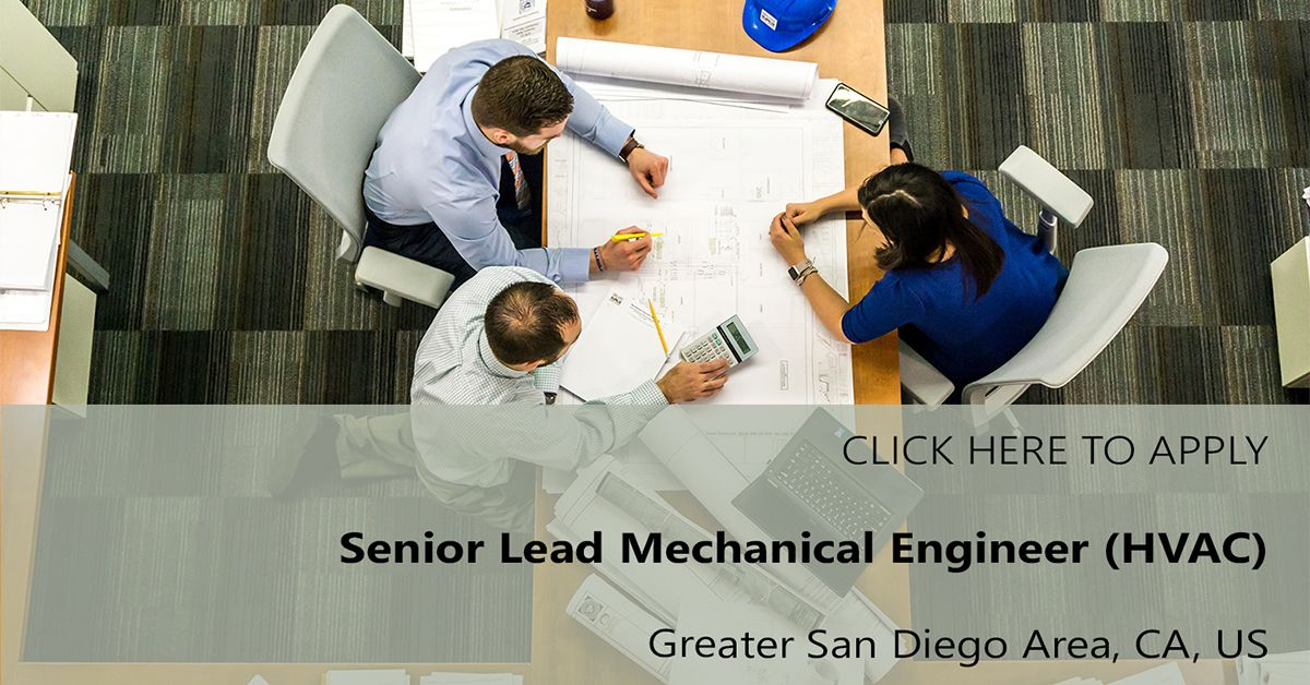 We are #Hiring ! Senior Lead Mechanical Engineer (HVAC) position ...