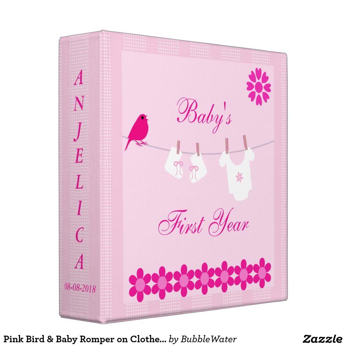 Pink Bird & Baby Romper on Clothesline Photo Album Vinyl Binders