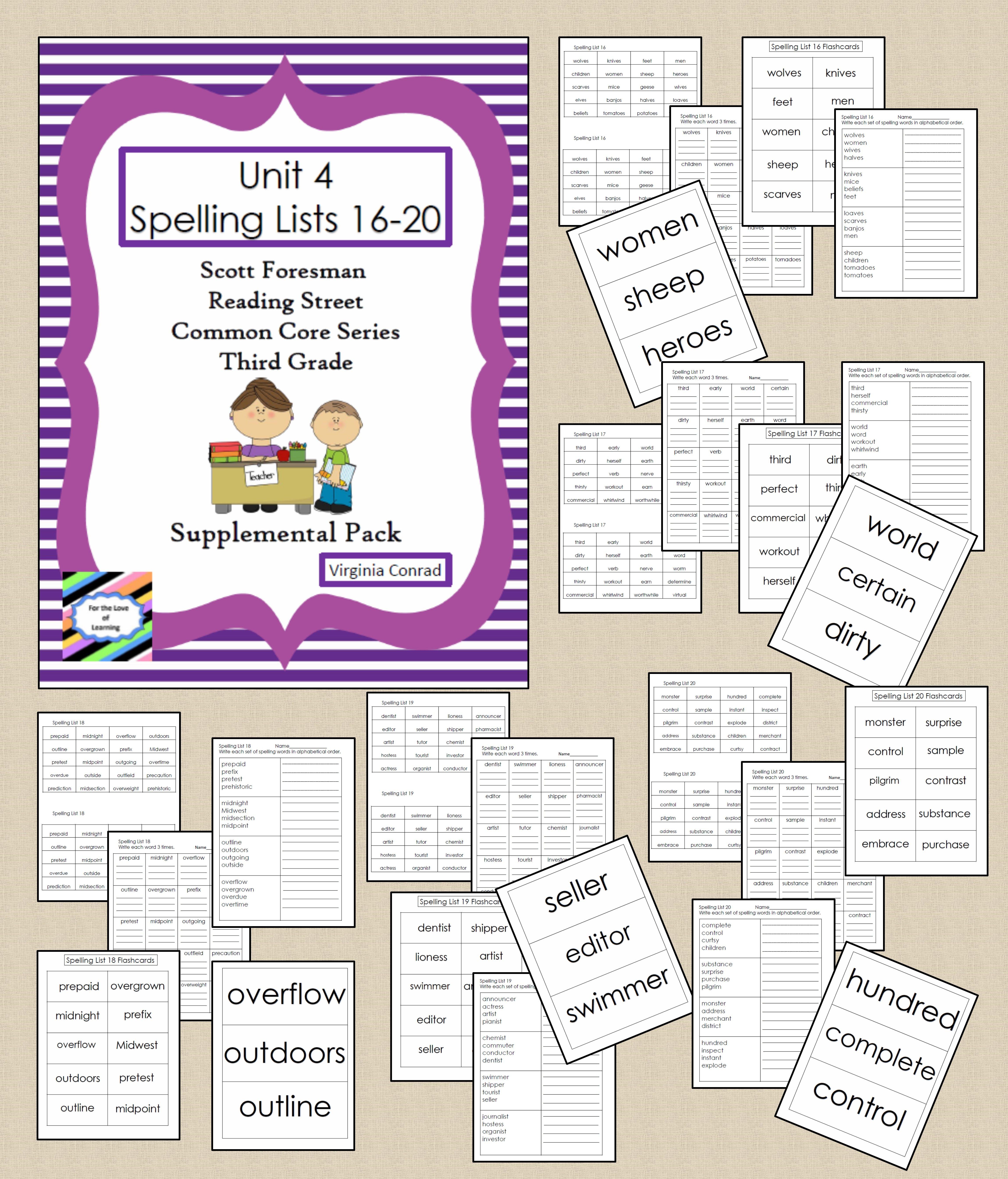 Spelling Lists 16 20 Supplemental Packet Reading Street
