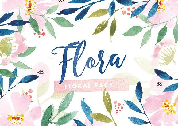 Flora Watercolor Flower Graphics by The Fabled Graphics on @Graphicsauthor